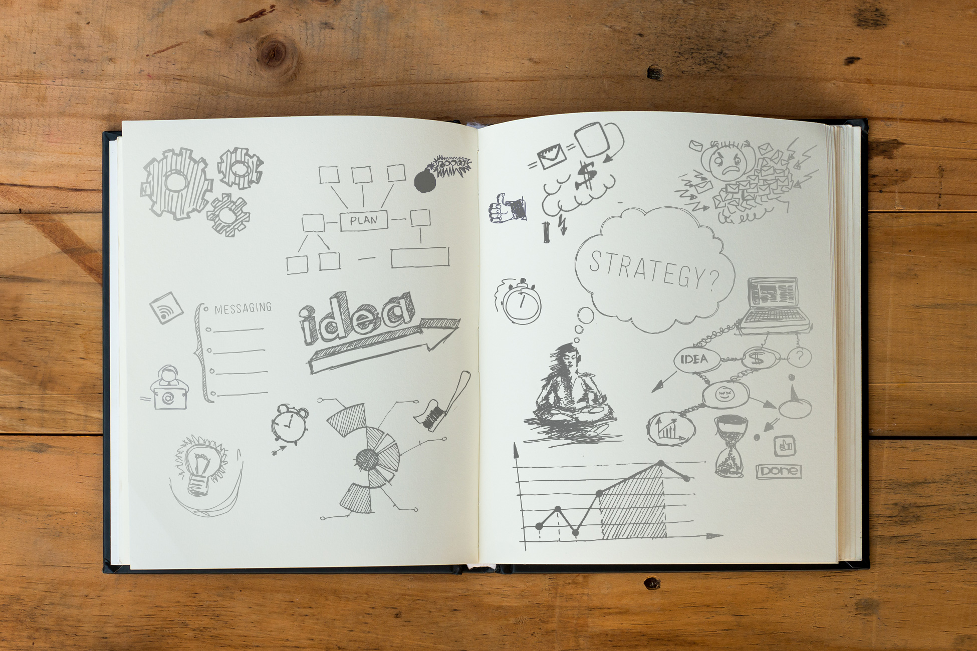 Picture of a branding sketchbook