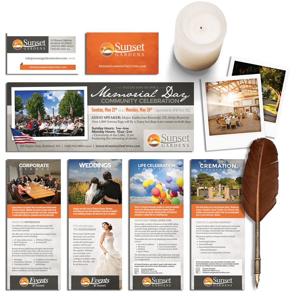A compilation of multiple print collateral items.