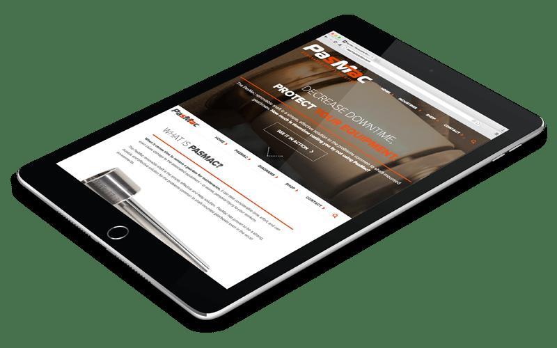 Screenshot of PasMac website on iPad.