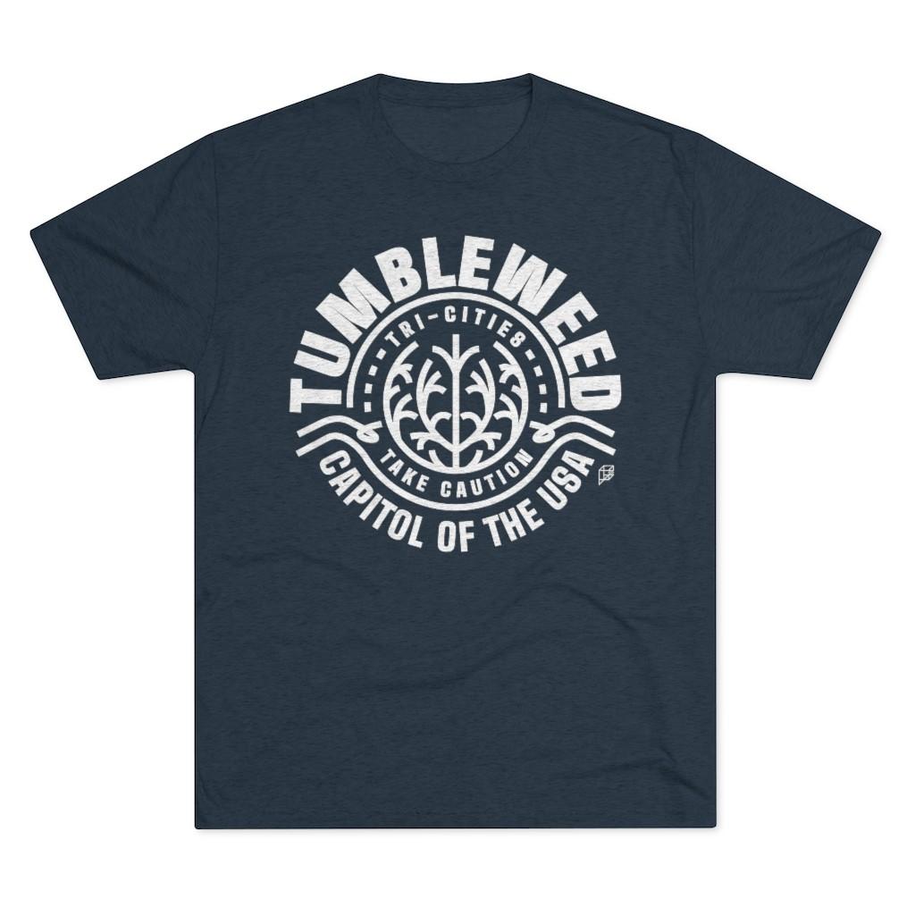 image of navy shirt with tumbleweed design